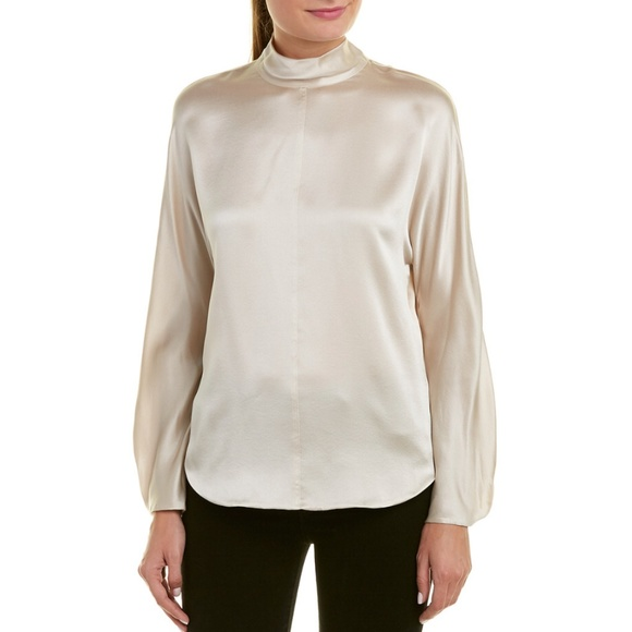 bfdcaa448ef4f7 Vince 100% Silk Mock Neck Blouse Size Small